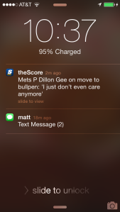 I'll get to your texts in a minute, Matt. First, let me opine about Dillon Gee.